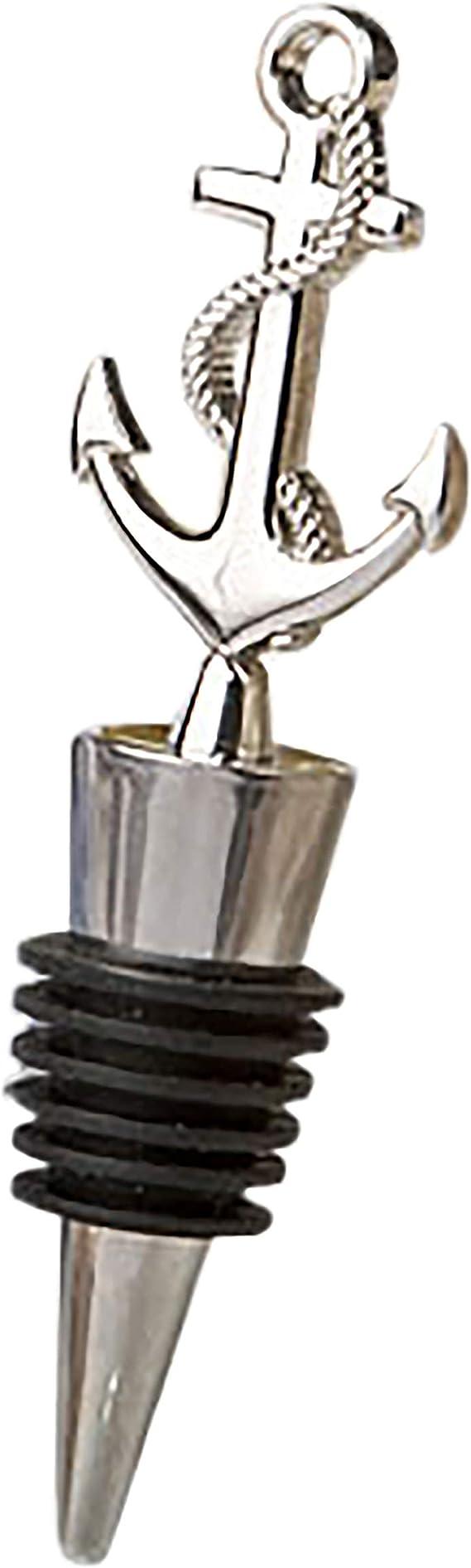 FASHIONCRAFT 1960 Nautical Wine Bottle Stopper, Silver Ocean Bottle Décor, Wine Stoppers Wedding Favors