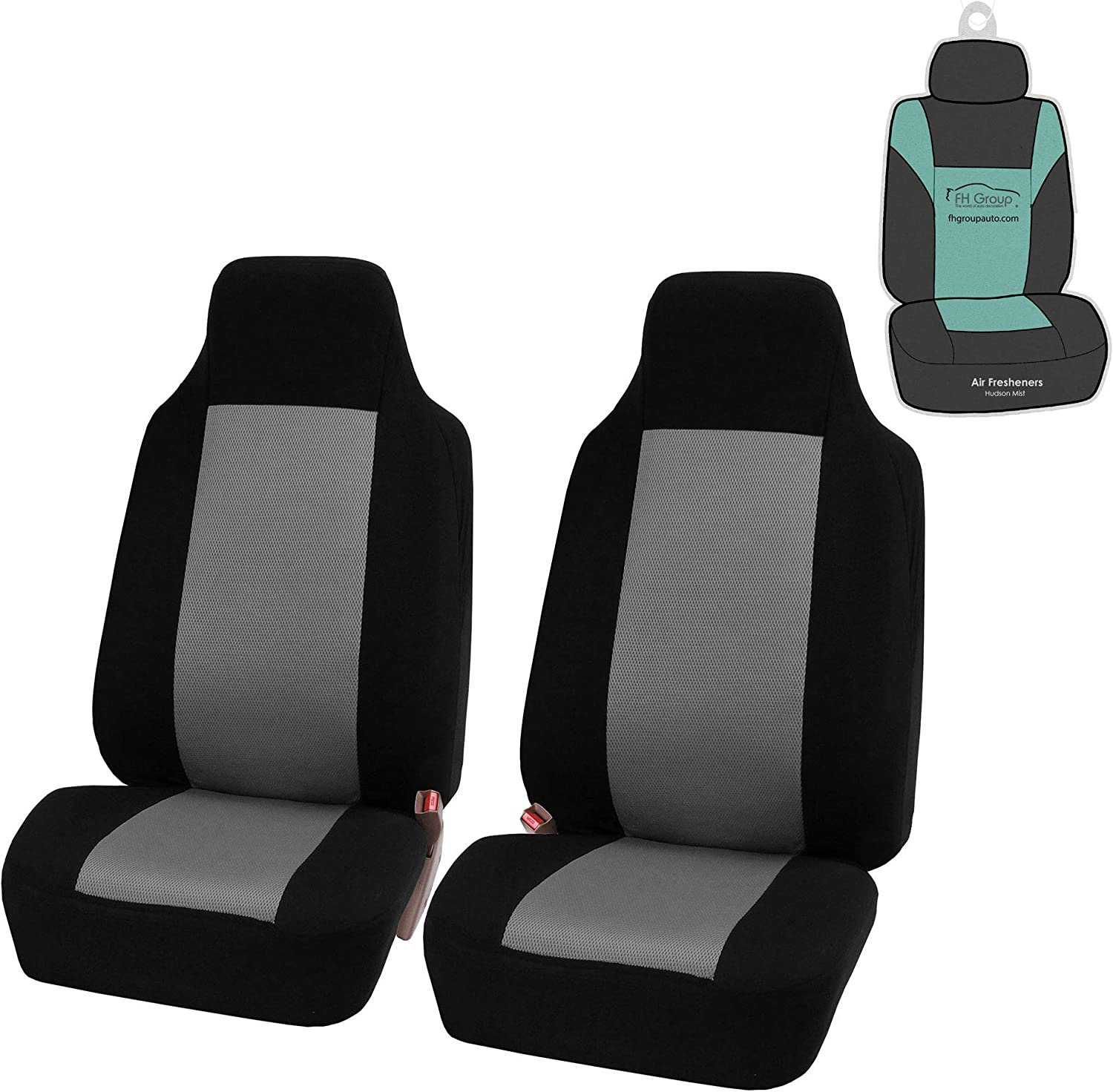 FH Group FB102102 Classic Cloth Seat Covers (Gray) Front Set with Gift – Universal Fit for Cars Trucks & SUVs