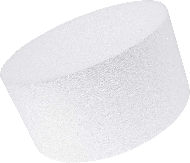 Round Foam Cake Dummy (White, 8 x 4 Inches)
