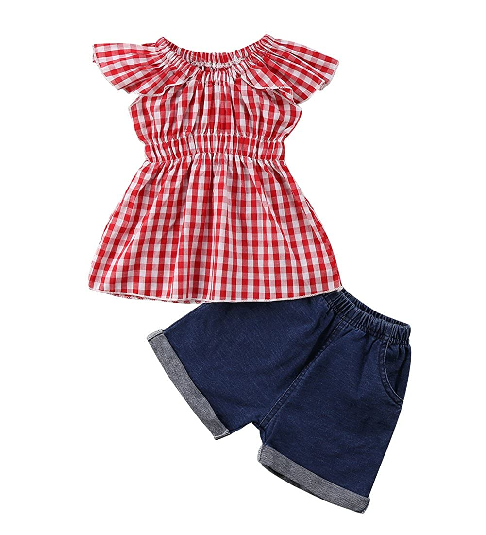 1-5Yrs Kid Baby Girls Ruffle Tops + Denim Jeans Shorts Cool Girl Clothes 2pcs Set