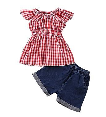 42a13ebd8e7e Amazon.com  1-5Yrs Kid Baby Girls Ruffle Tops + Denim Jeans Shorts ...