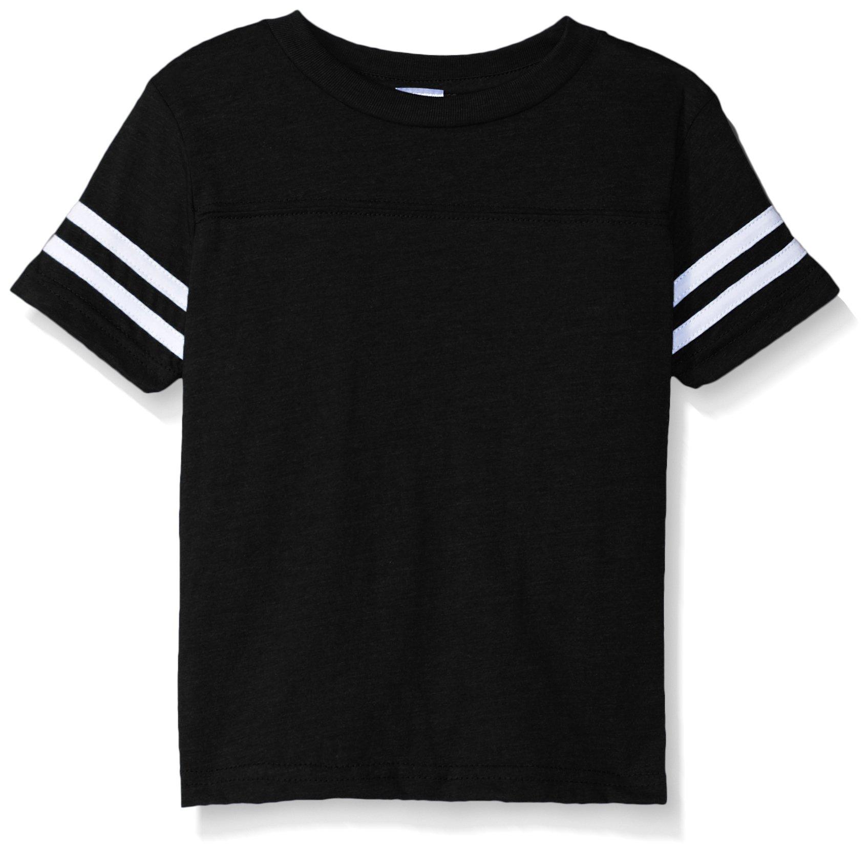 Clementine Toddler Kids Football Fine Jersey T-Shirt, Black/White, 2T