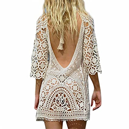 Amazoncom Wispun Womens Beach Cover Up Crochet Backless Bikini