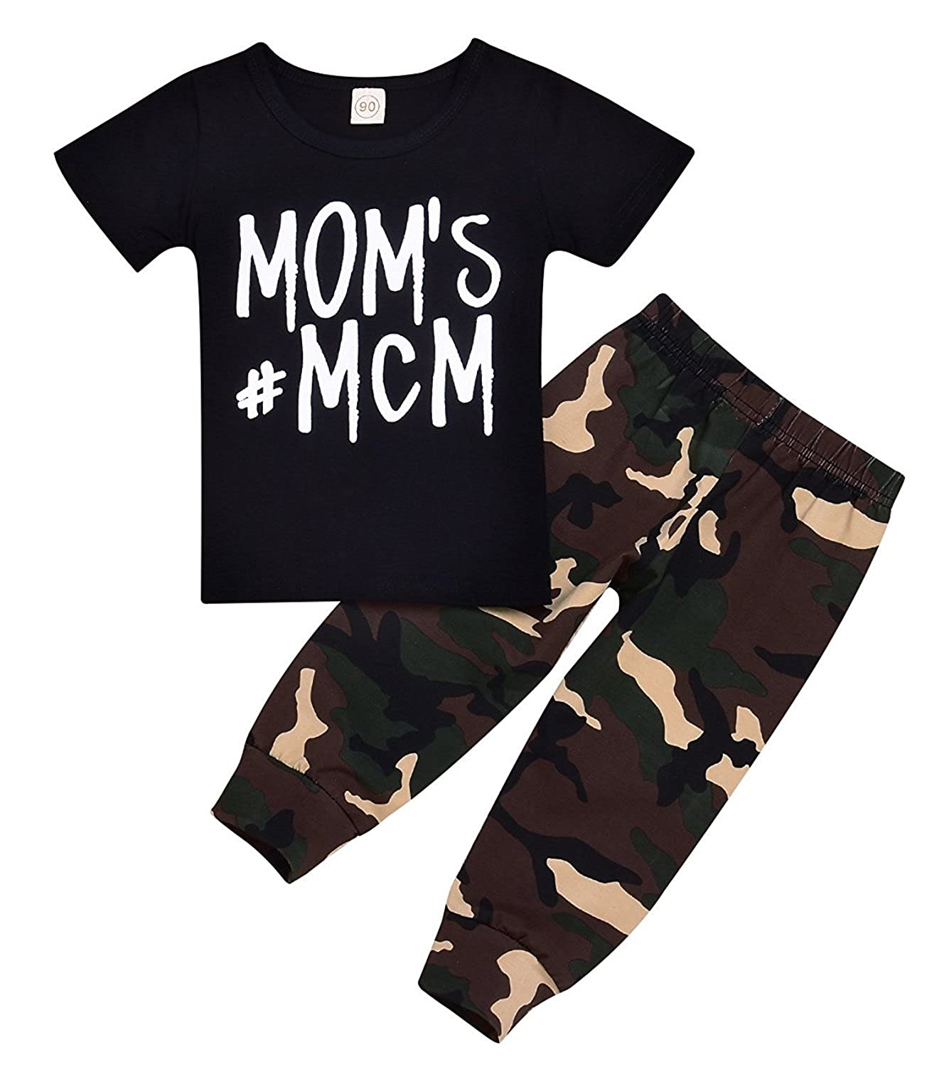 6130c1d61bf8 This outfit quality totally beat the price. ????【Style】:Baby short sleeve clothes  printed MOM'S MCM and camouflage pants.;affordable and durable.