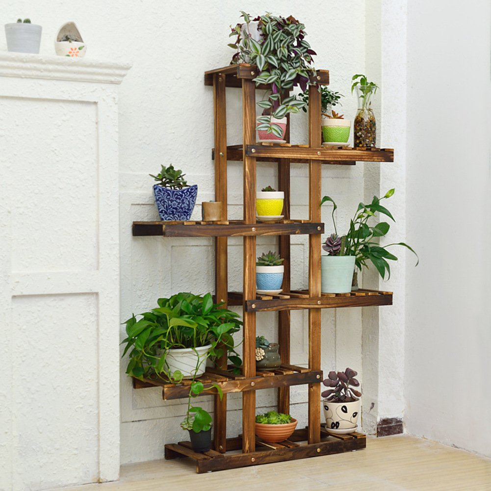 Balcony wooden living room flowerpot rack hundred step style flower racks-B by Flower racks