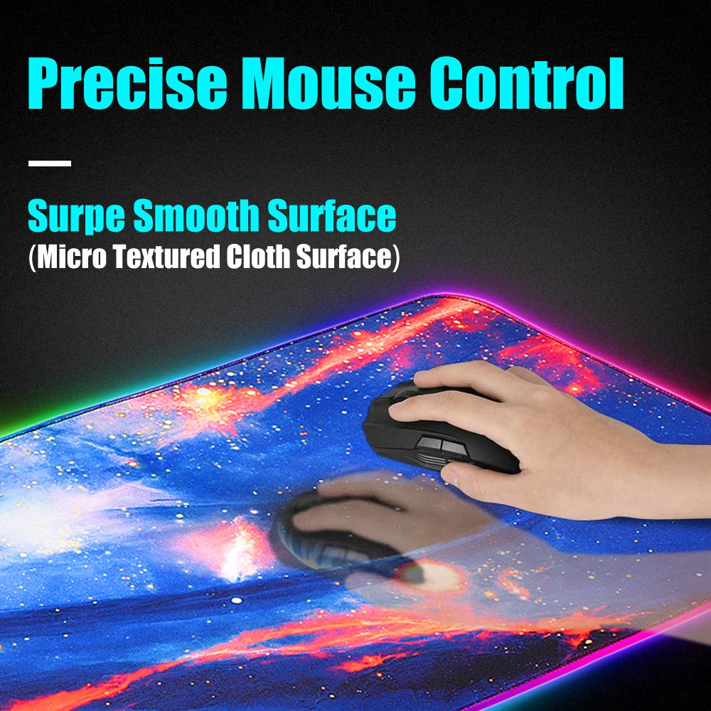 Alfombrilla de ratón RGB, alfombrilla de mouse LED Zpose, alfombrilla de mouse para juegos, alfombrilla de mouse para juegos grande, alfombrilla de mouse para juegos, alfombrilla de mouse grande para juegos, alfombrilla de mouse para juegos, 14 modos de i