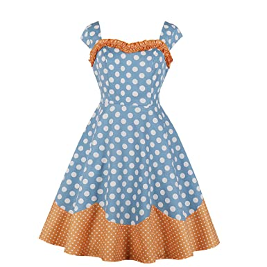 bda9388e57a Wellwits Women s Frill Polka Dots Print 50s Vintage Dress Wide Strap  Sundress S Blue and Orange