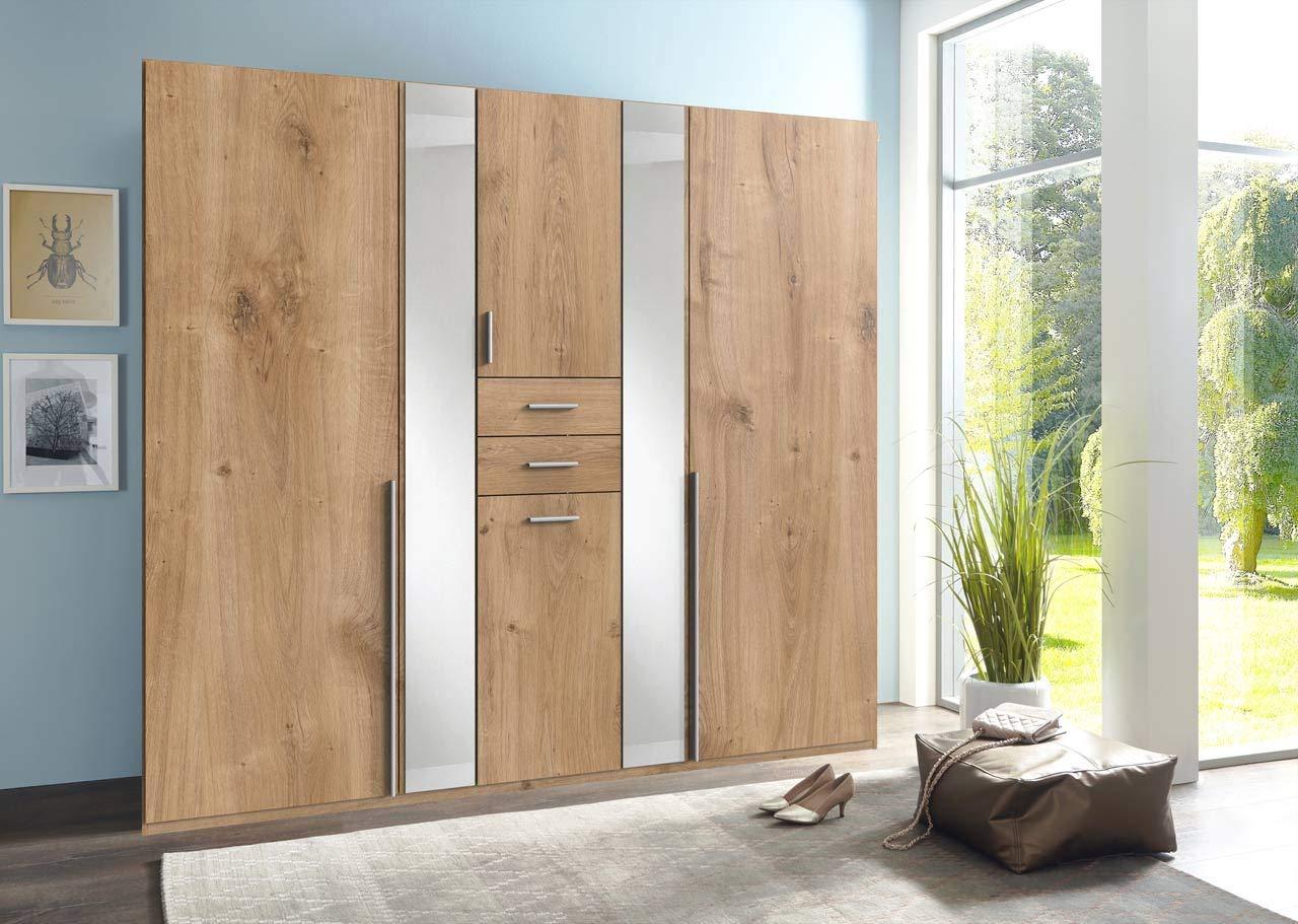 lifestyle4living Kleiderschrank 6-türig in Eiche-Dekor mit Schubladen | Drehtührenschrank mit Spiegeln, Wäschebox und vielen Fächern ca. 225 cm