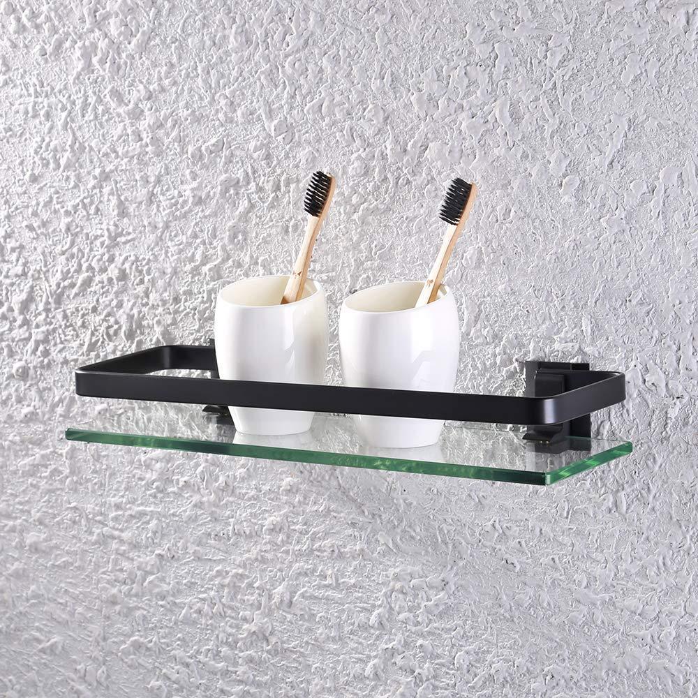 KES baño estante de cristal con rail aluminio y extra vidrio templado ducha estantería Rectangular soporte de pared de estilo contemporáneo product image