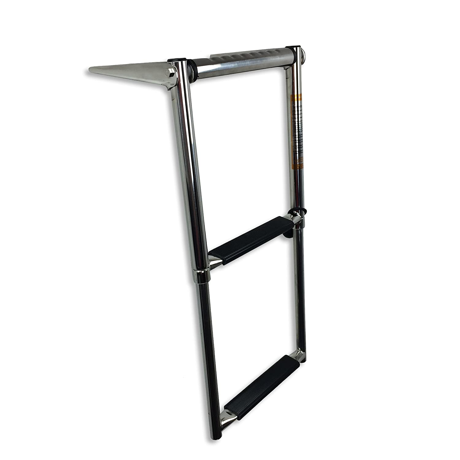 """RecPro Marine Boat SSL-A2H 10"""" 2 Step Down TELESCOPING Boat Boarding Ladder with Grab Handle"""