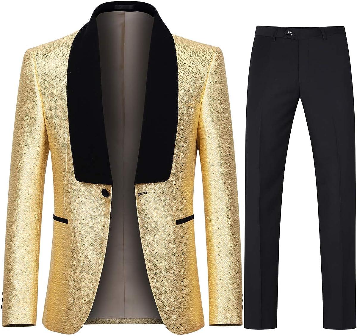 Boyland Men's Tuxedo Suits Slim Fit Luxury 2 Pieces Suit Set Tux Jacket Pants Homecoming Dinner Prom Party Dress