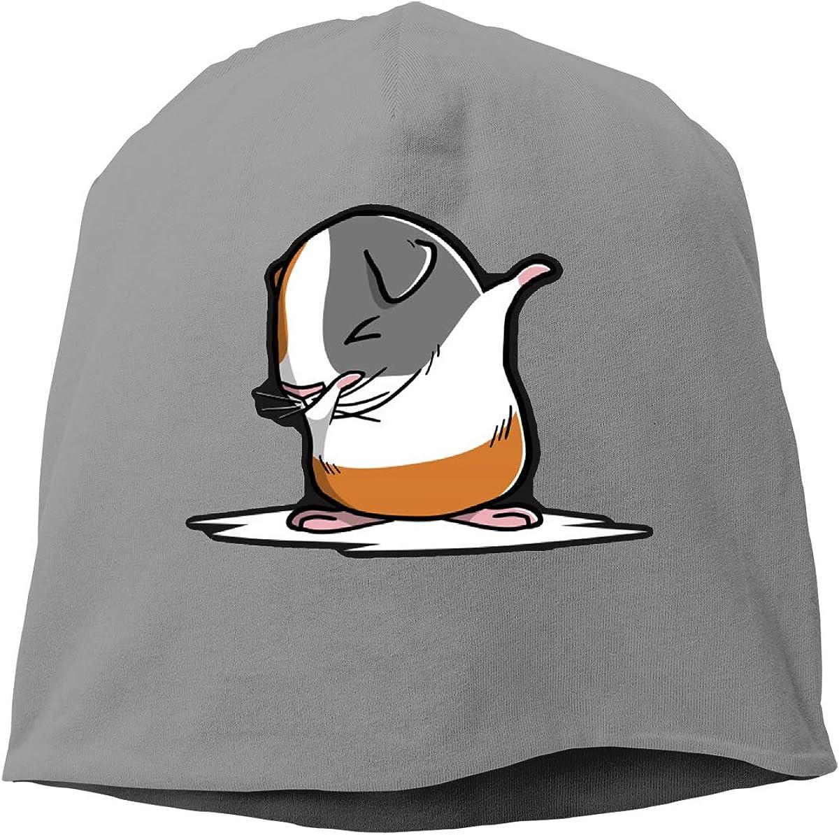 Unisex Dabbing Guinea Pig Running Beanie Cap Cuffed Plain Skull Cap Hat