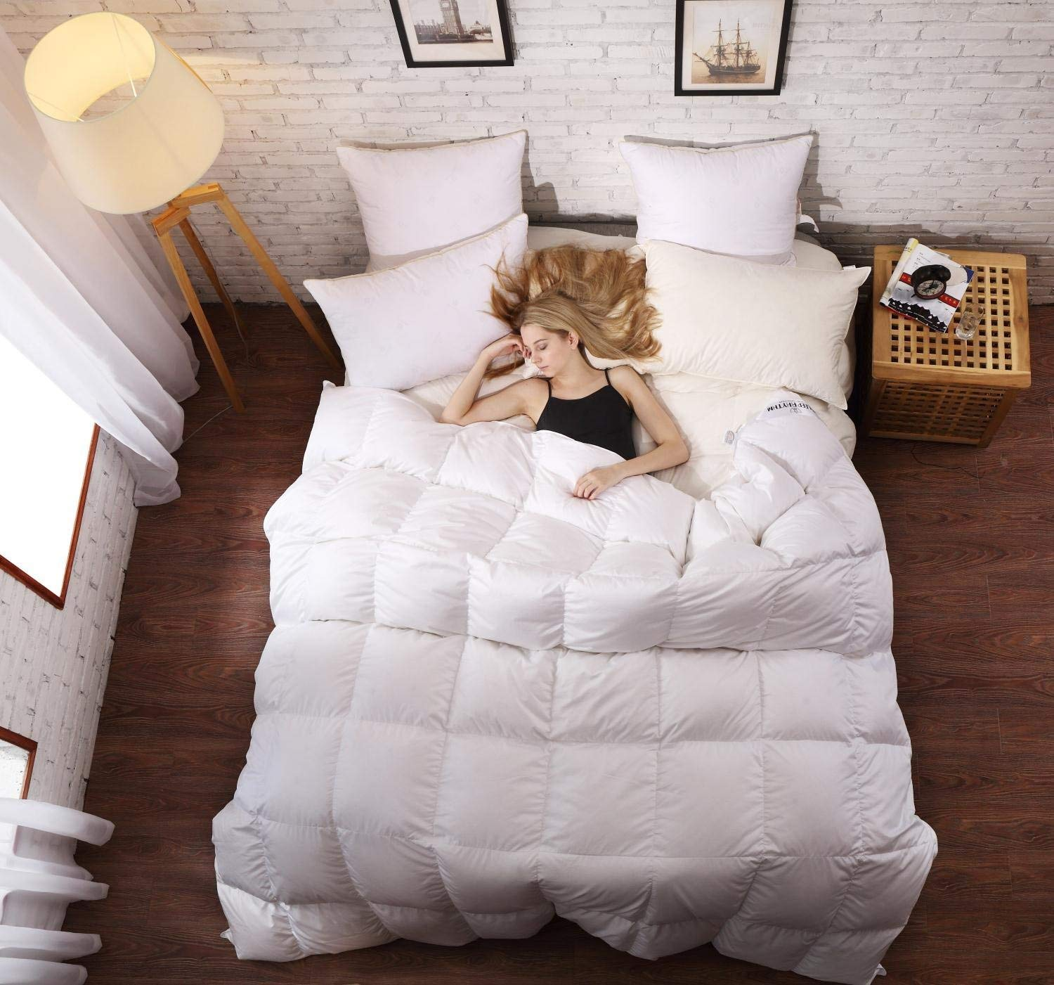 SLEEP RHYTHM Luxurious Goose Down Comforter Twin Size, Duvet Insert, Medium Weight for All Season, Hypoallergenic, 600 Thread Count, 750 Fill Power, 100% Egyptian Cotton, White Color, Twin Size 68