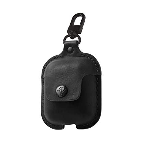 Twelve South AirSnap | Leather Protective Case/Cover with Loss Prevention  Clip for AirPods & Wireless Charging Case for AirPods, Black