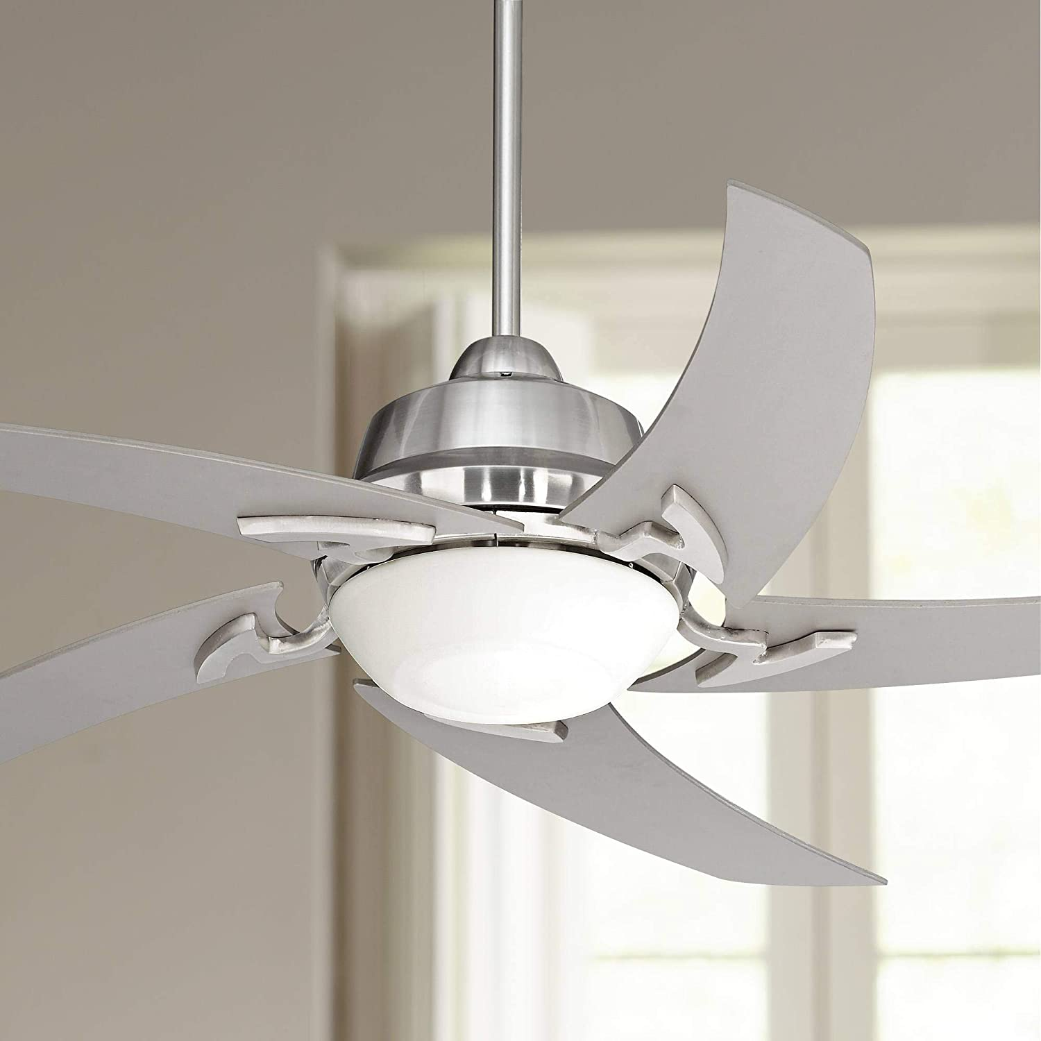 52 Capri Modern Ceiling Fan with Light LED Remote Control Brushed Nickel Silver Blades Opal Glass for Living Room Kitchen Bedroom Family Dining – Casa Vieja
