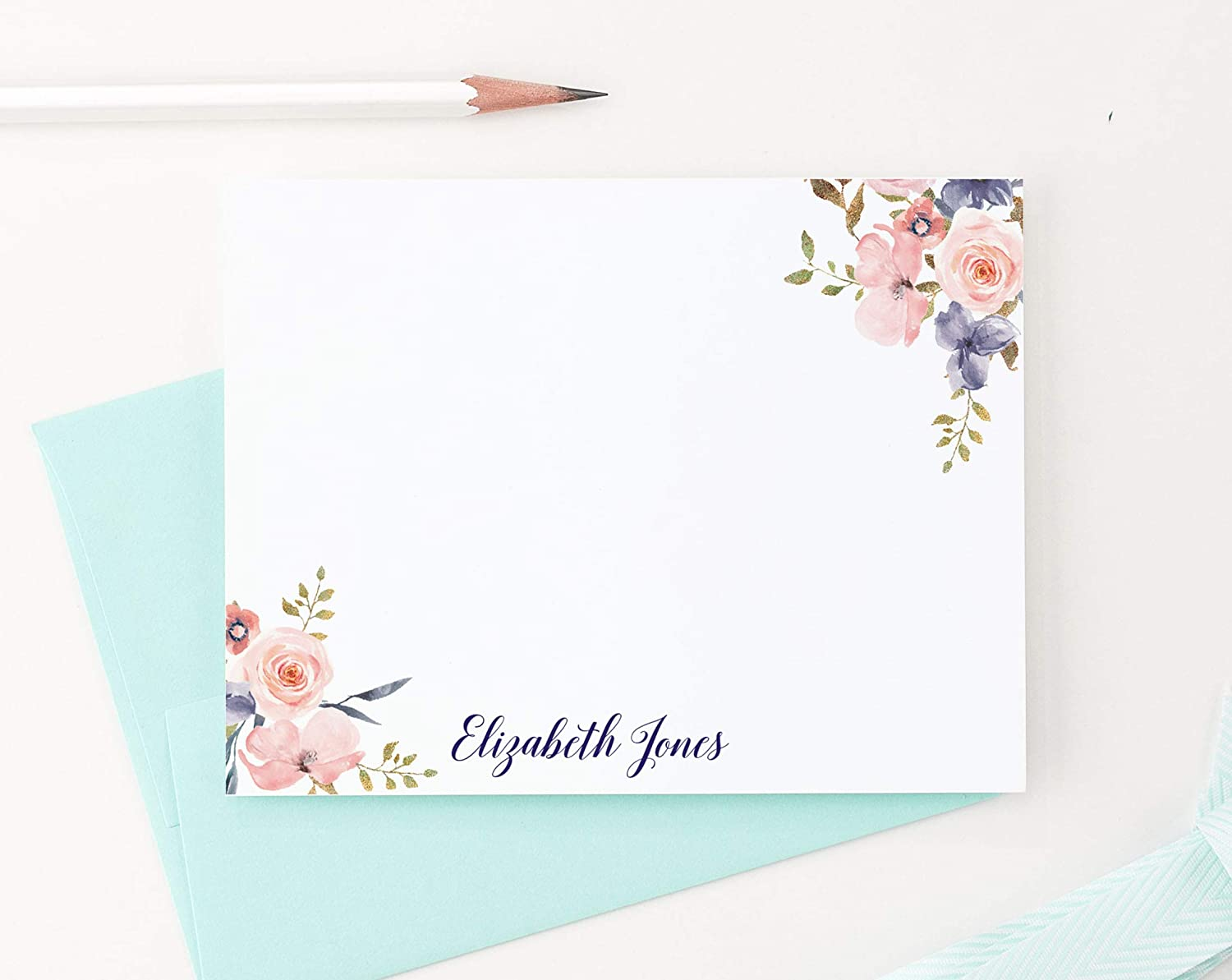 Stationary Personalized Floral Thank you Cards PERSONALIZED STATIONERY SET Personalized Feminine custom stationery Mother/'s Day gift