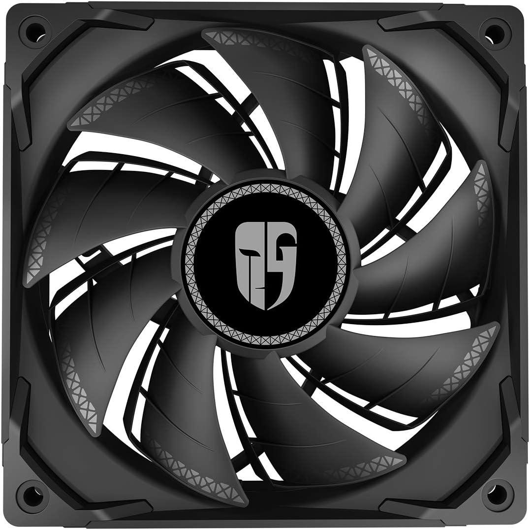 DEEP COOL TF120S, Ventilador Negro de 120 mm para PC, Aspas de Doble Capa, 500~1800 RPM ± 10%, 10% más de Presión de Aire y 15% más de Flujo de Aire