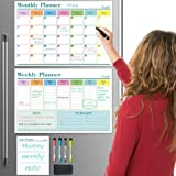 Dry Erase Calendar Whiteboard, Set of 3 Magnetic Calendars for Refrigerator: Monthly, Weekly Organizer & Daily Notepad. Wall