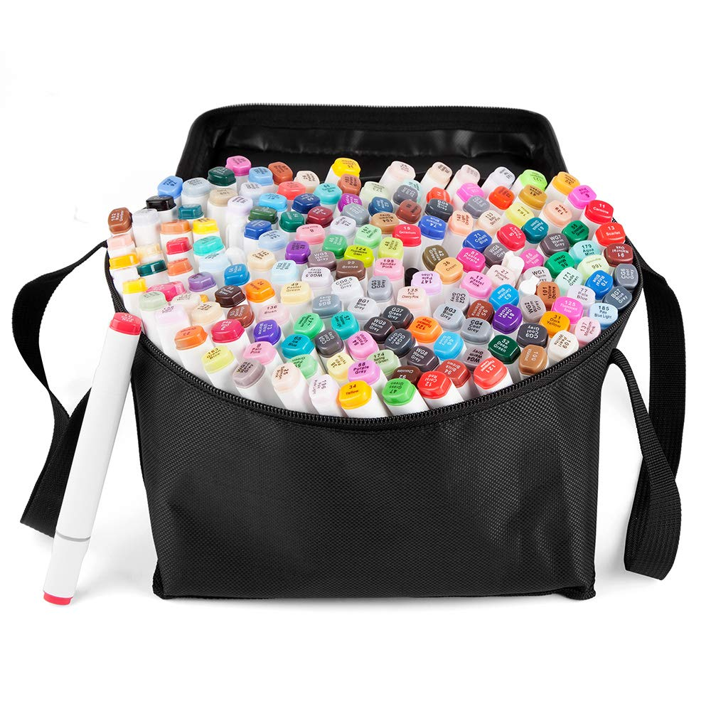 168 Set Color Graphic Drawing Painting Alcohol Art Dual Tip Sketch Pen Twin Marker Design Coloring Highlighting Underlining Set with Carry Bag by Marvelifes