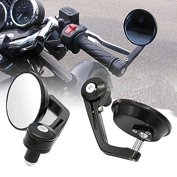 "JOLIGEL Set 7/8"" 22cm Retrovisores Laterales Universales Espejos Redondos de Aluminio para Motocicletas"
