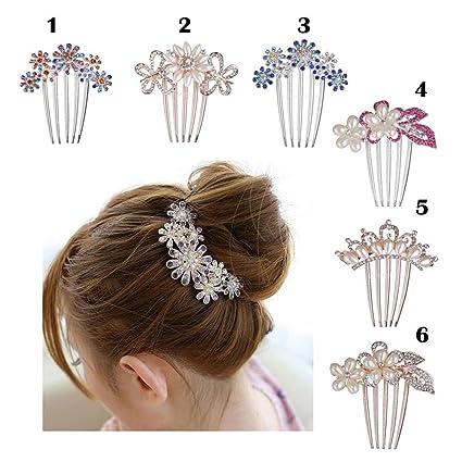 Frcolor Flor cristal Rhinestone perlas cabello peine Clip boda Bridal(White) 9b4af7125269