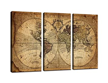 World Map Wall Art Canvas Modern Paintings Globe Maps Home Decor Poster  Vintage 3 Pieces Newspaper