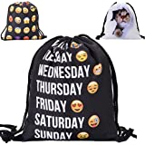 Emoji Drawstring Bag,Drawstring Backpack Gym Bag Rucksack By Sunshine D 3D Printing Teenage Shoulder School Backpack Perfect For Sports, Beach Holidays, Swimming, School ,Gym
