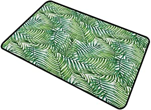 shirlyhome Doormat Dog Leaf Home Plate Doormat Watercolor Print Botanical Wild Palm Trees Leaves Ombre Design Image 24