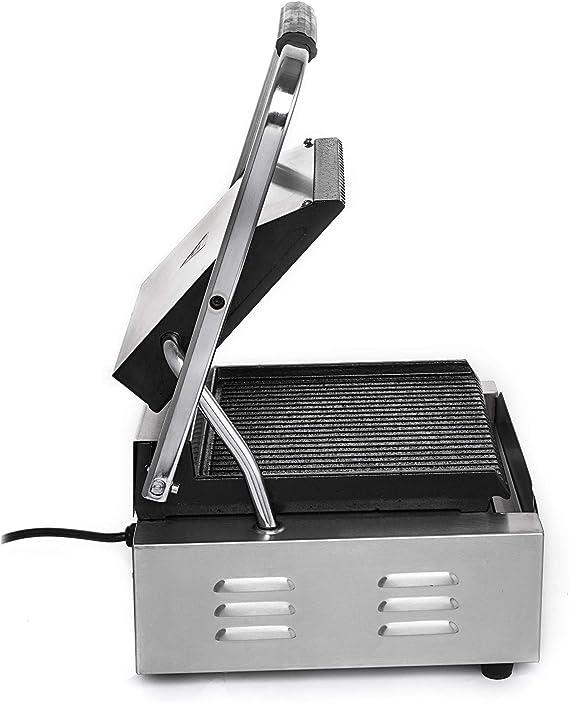 Anhon Parrilla eléctrica 220V para sándwich Fabricante de la Prensa de sándwich 1800W Parrilla de la Prensa de la tostadora y panini Máquina Comercial Sandwich Tostadora (1800W): Amazon.es