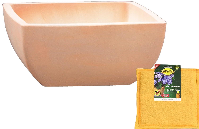 Spar Set: Keramik Pflanzschale Grabschale inclusive FlowerPad Profi Drainage-Sytem quadratisch frostfest Größe 50 x 50 x 21 cm, Farbe terrakotta, Form 220.050.53 mit Bodenloch - Qualität von Hentschke Keramik