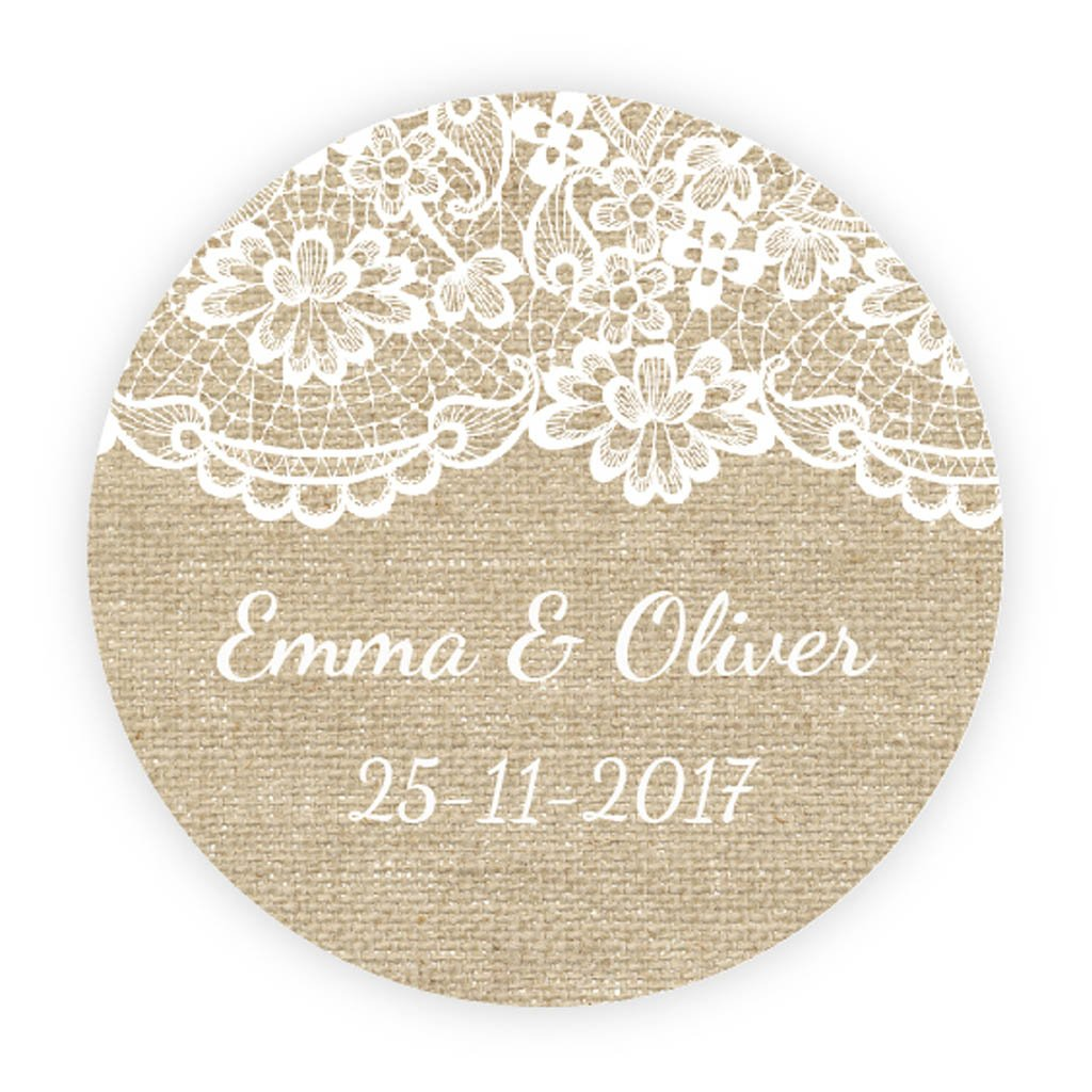 Huis Personalised Split monogrammed Favour/thank you Tags hand made ivory Bonbonnières
