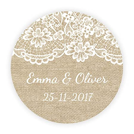 Ekunstreet 48x personalised burlap and lace effect sticker40mm wedding favour stickerssweet