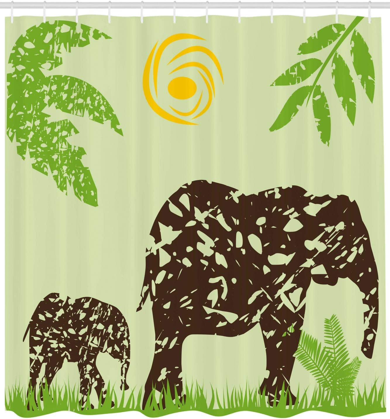 Green Brown African Elephants on the Field Walking under Sun Jungle Cute Animal Art Print Ambesonne Grunge Decor Shower Curtain by Fabric Bathroom Decor Set with Hooks 70 Inches