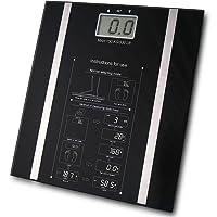 Fineway Digital Ultra Slim Body Fat Analyser Bathroom Scales, Measure Weight BMI Body Fat Percentage Body Water   Weight Loss - Tempered Glass - Slim 6mm (Black)
