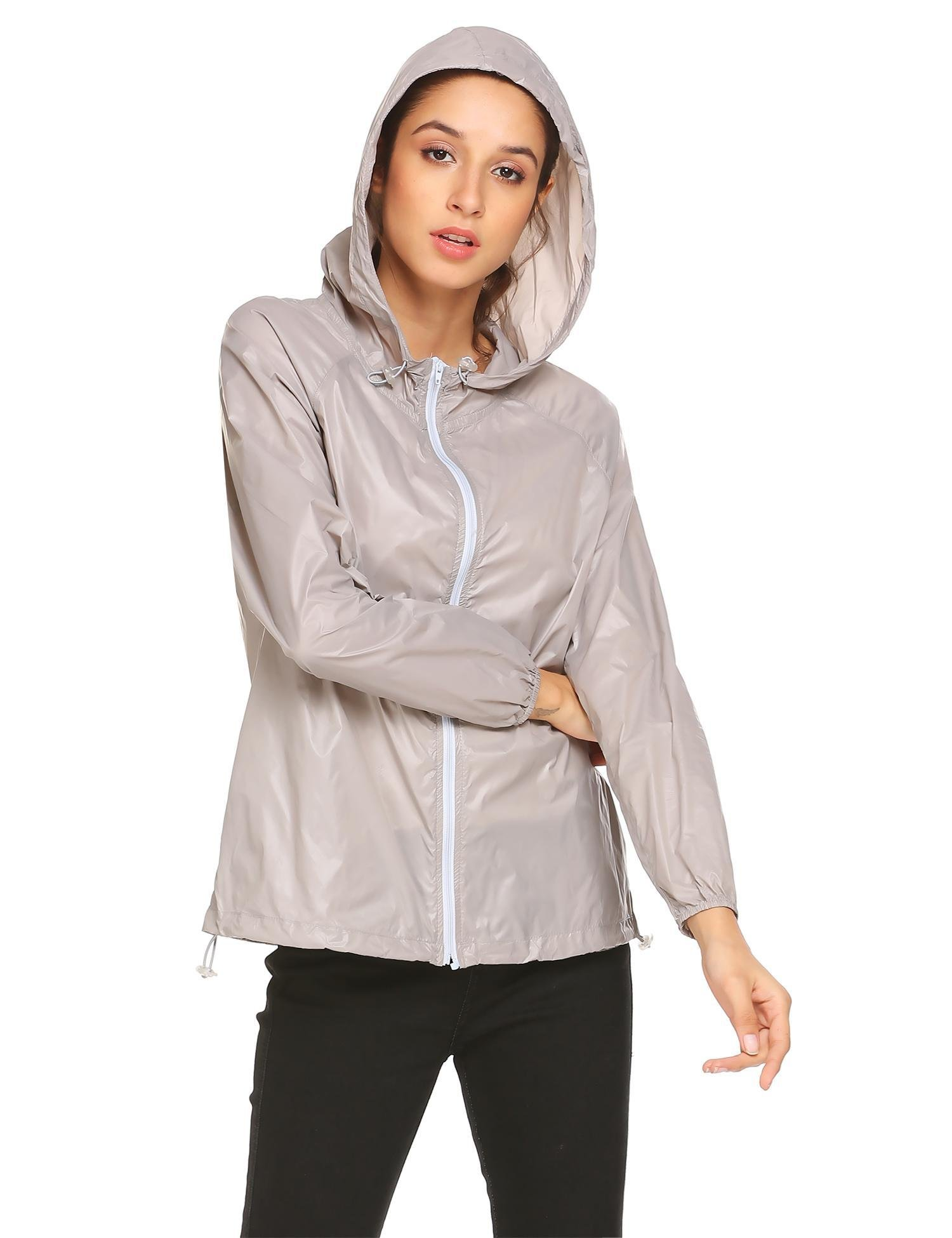 348b3618b26 Zeagoo Women Lightweight Rainwear Active Outdoor Hoodie Cycling Running  Windbreaker Jacket