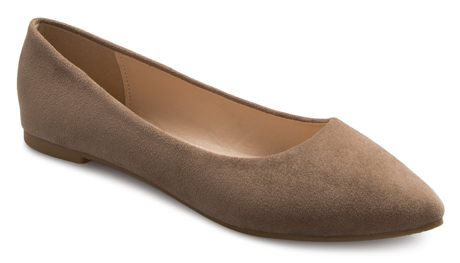 OLIVIA K Women's Pointed-Toe Flat Heel - Slip on Style Casual Comfort Ballet with Soft Suede Patent and Leather