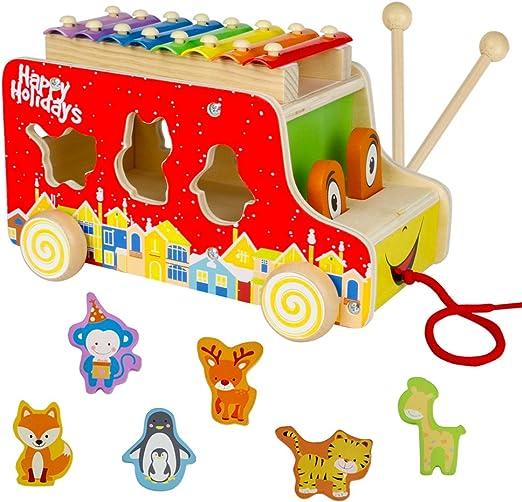 Xilófono Infantil con Autobús Bus y Puzzle Madera Colorido Juguetes Musicales Bebe de Madera Juguete Educativo para Niños: Amazon.es: Juguetes y juegos