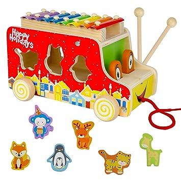 Xilófono Infantil con Autobús Bus y Puzzle Madera Colorido Juguetes ...
