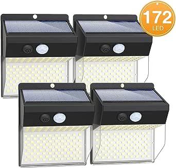 Litogo Luz Solar Exterior 172 LED【4 Pack / 3 Modos】con Sensor de ...