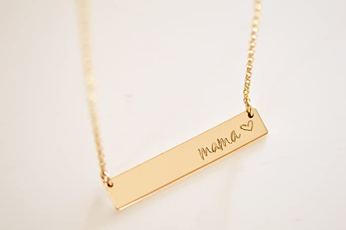 6d2f5ca7cb0b8 Amazon.com: Gold MOM / Mama Bar Necklace - Heavy Bar Necklace ...