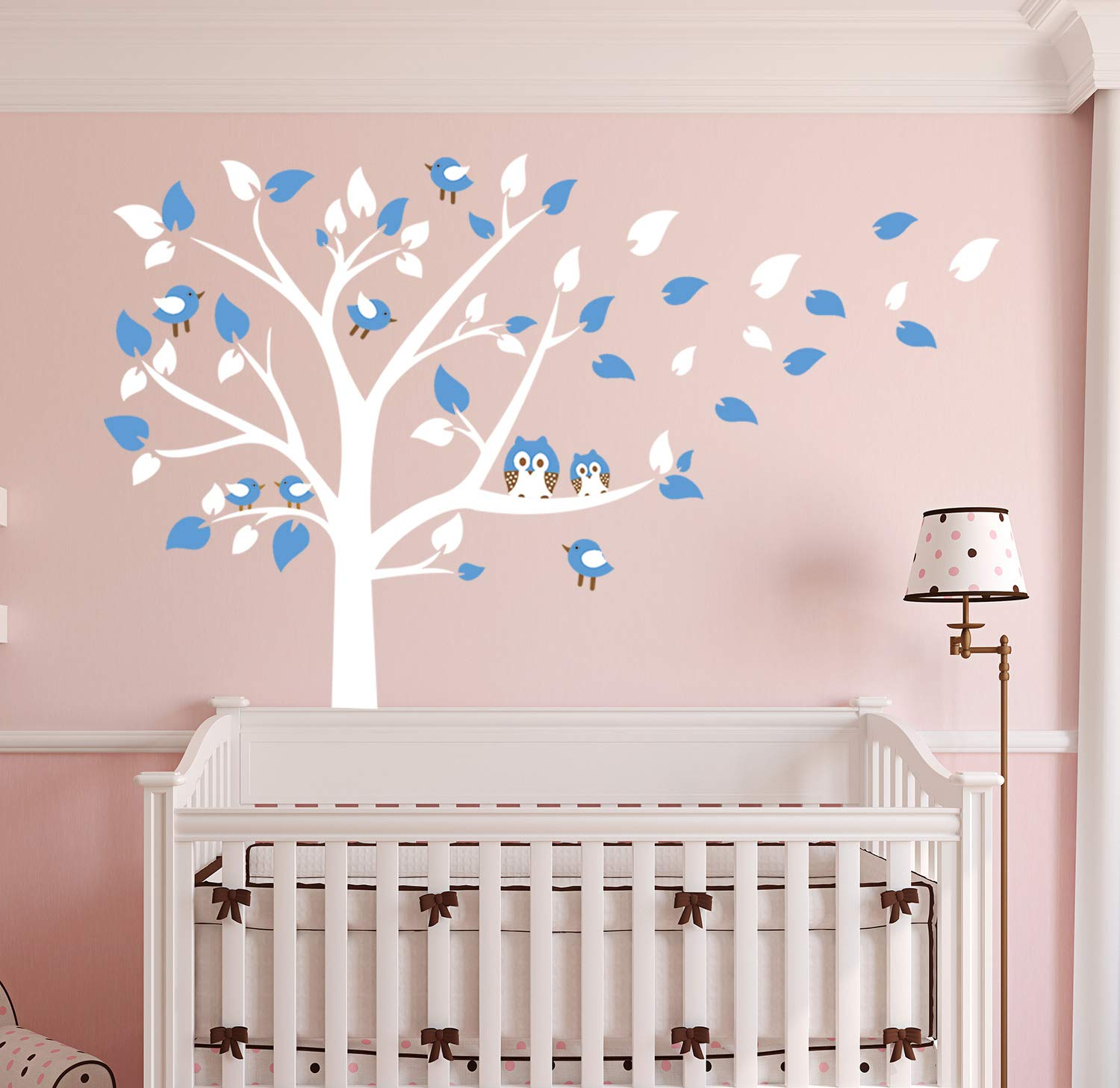 AliQing Nursery Wall Decals White Tree Wall Decals Owls Birds Wall Stickers Vinyl Mural Art for Baby Nursery Kids Room Decoration (Blue)