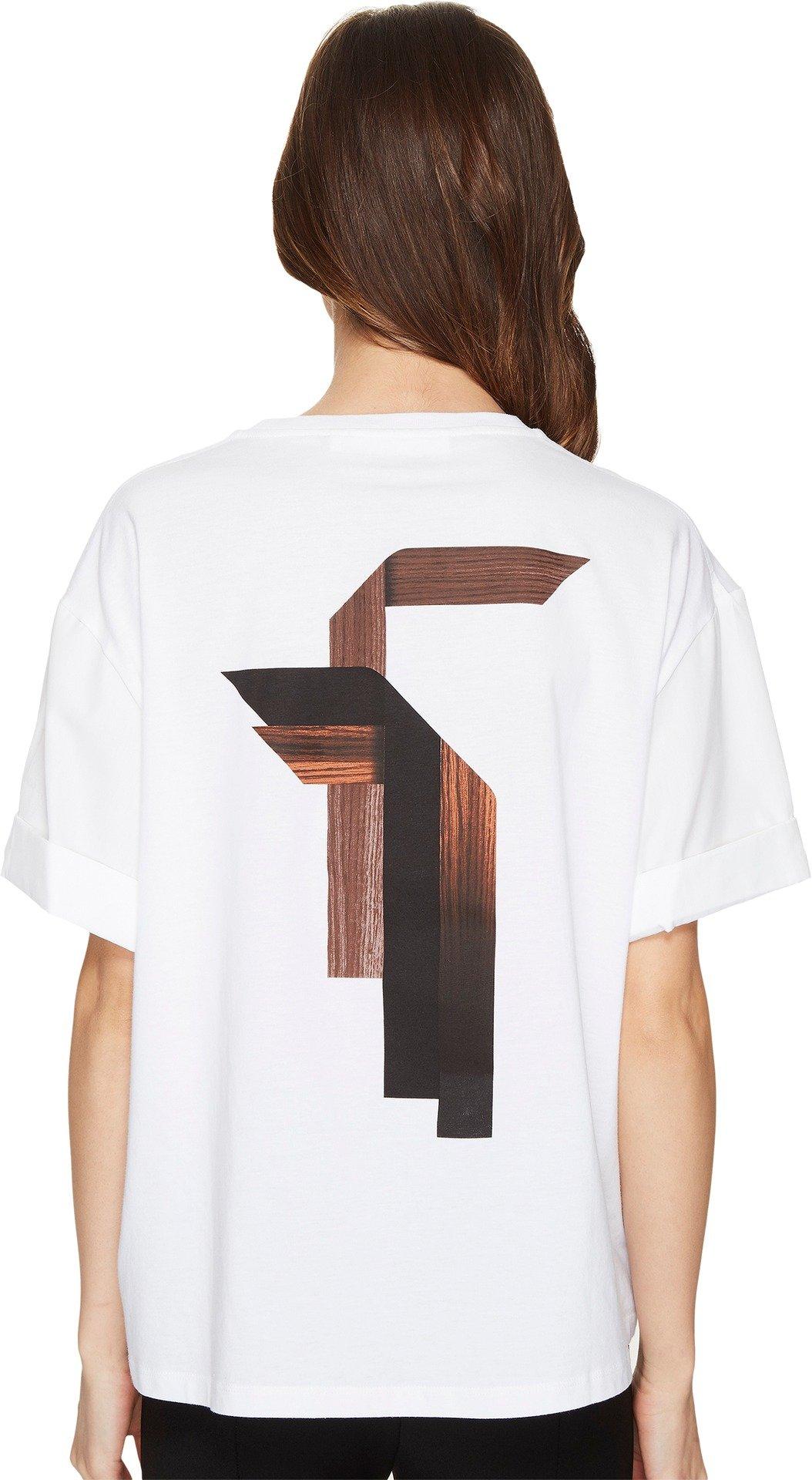 Neil Barrett Women's Sanfor Stripes T-Shirt Jersey + Fine Pop. Stripes T-Shirt White T-Shirt
