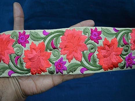 Beautiful stylish embroidered pattern lace trimming Ribbon making craft 1 Yard.