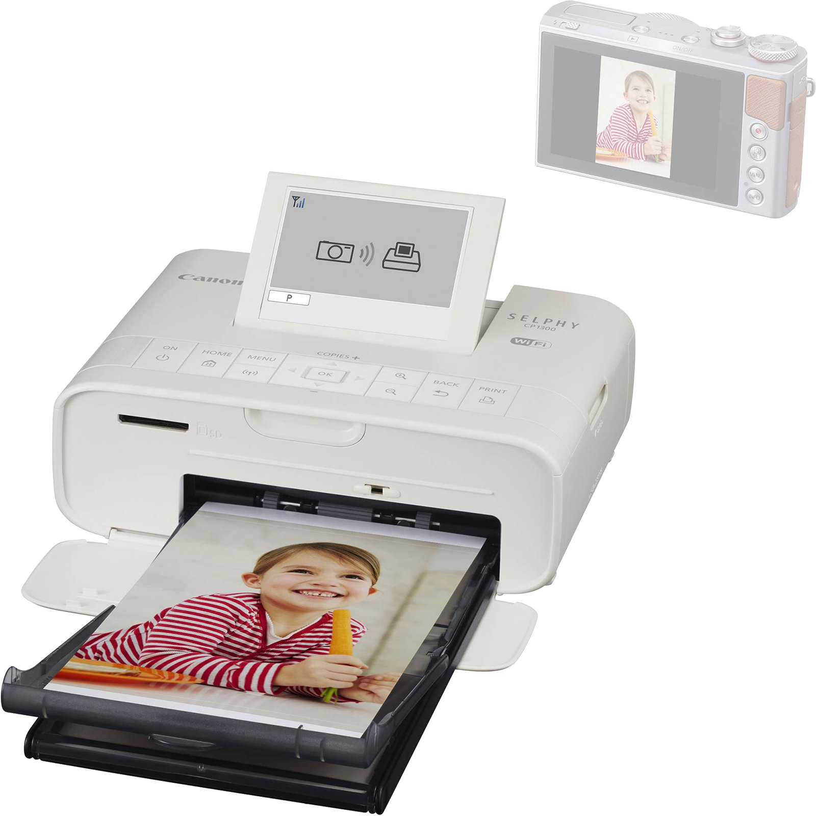 Canon SELPHY CP1300 Wi-Fi Wireless Compact Photo Printer (White) with KP-36IP Color Ink Paper Set + Power Bank + Kit by Canon (Image #3)