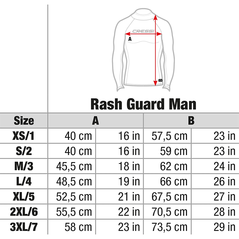 50+ Cressi Rash Guard Homme Haute de combinaison Protection Solaire UV UPF