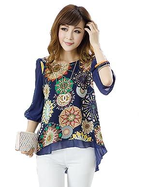 Eshion Women's Retro Short Sleeve Printed Casual Chiffon T-shirt Top Blouse