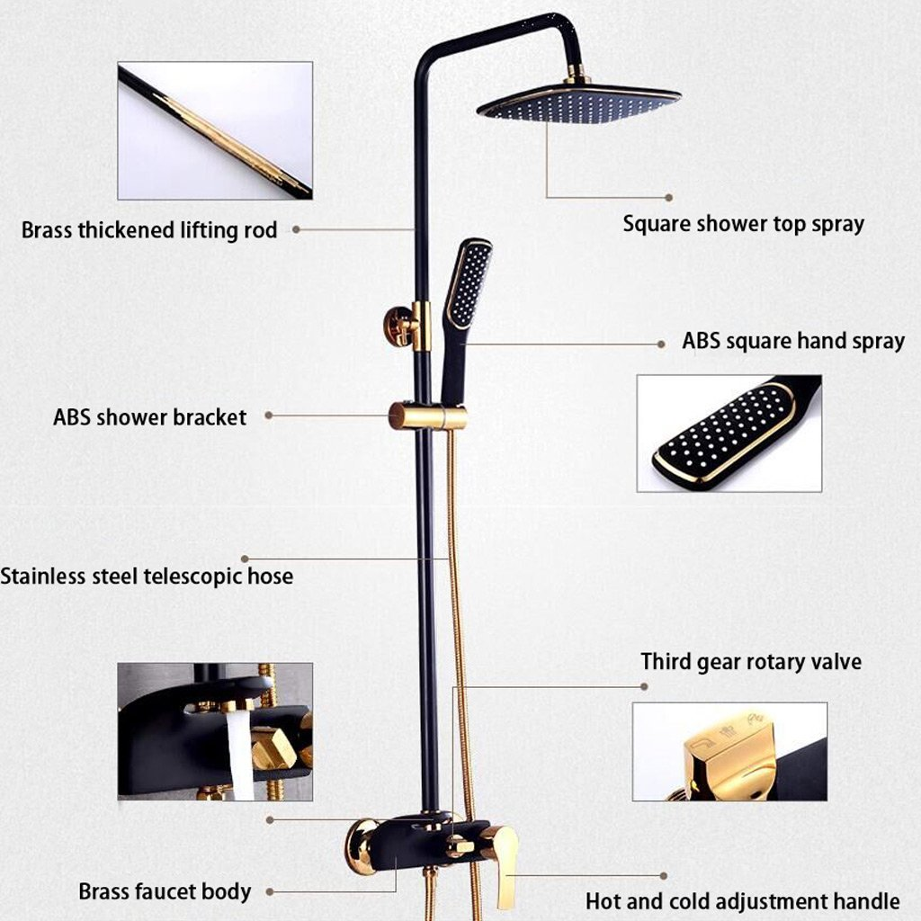 Square Thermostatic Shower Set Black Gold Shower Set Large Shower ...