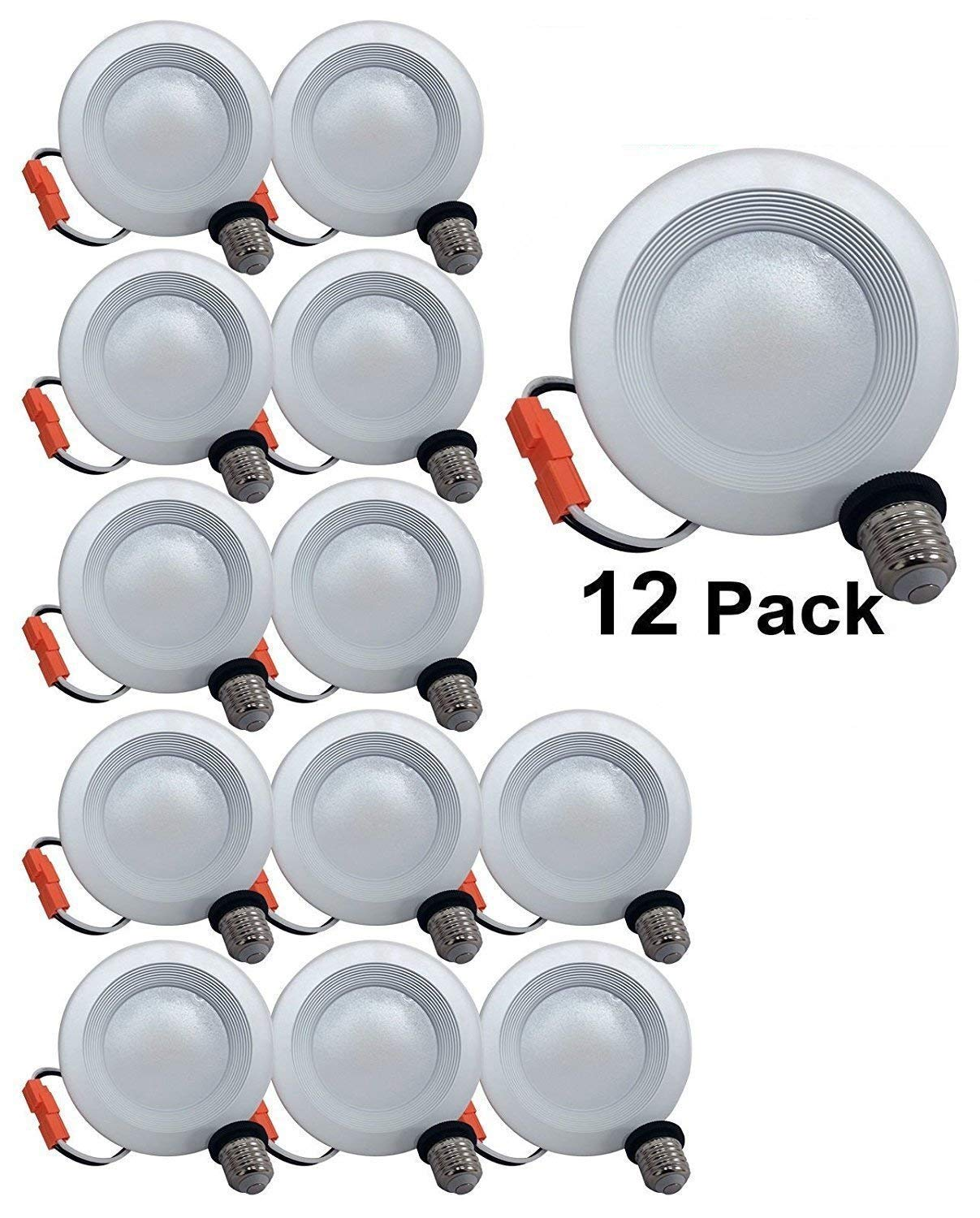 4'' Dimmable LED Downlight Baffle Trim, 540 Lumens, 5000K Daylight, Recessed Retrofit Lighting Trim, 9W (60W Replacement), Energy Star UL Listed,Title 24 JA8-2016 Compliant 12 Pack