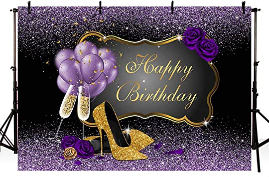 OERJU 7x5ft Happy 60th Birthday Backdrop Red Purple Balloons Red Wine Glass Purple Glitter High Heels Lady Woman Sixty Years Old Birthday Photography Background Happy Birthday Party Decor Banner
