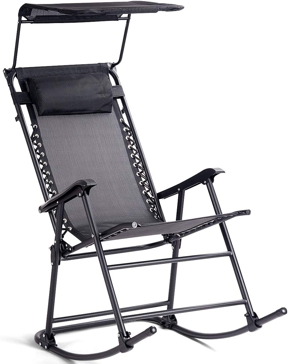 Goplus Folding Zero Gravity Rocking Chair, Portable Wide Recliner for Outdoor Lawn Beach Patio Pool w Shade Canopy